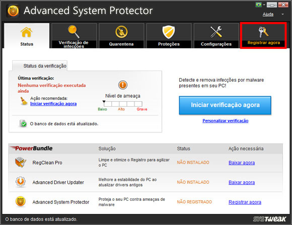 Tela do Advanced System Protector